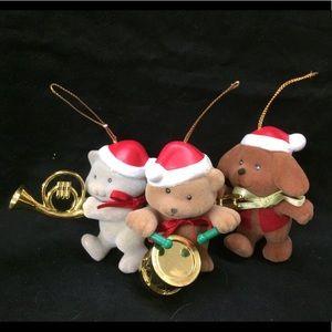 Vintage Flocked Animal Band Ornaments